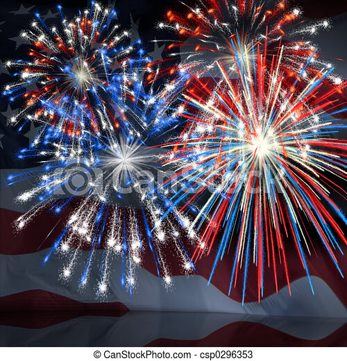 Fireworks over US Flag 3 - csp0296353