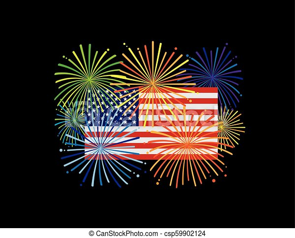 fireworks over usa american flag black bg illustration