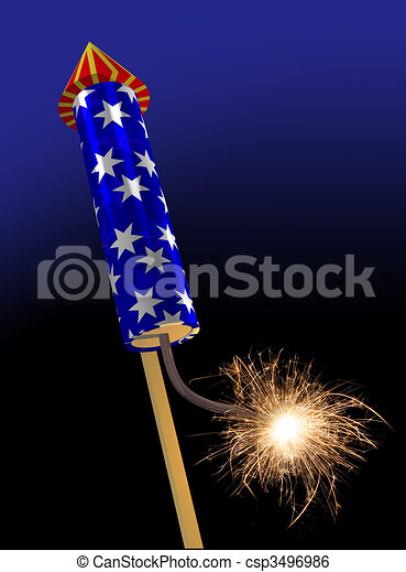 Fireworks rocket fuse burning - csp3496986