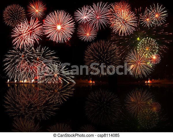 fireworks., sätta, e.g.2012, färgrik, text, objekt, centrera, din, bra, numrerar, år, eller - csp8114085