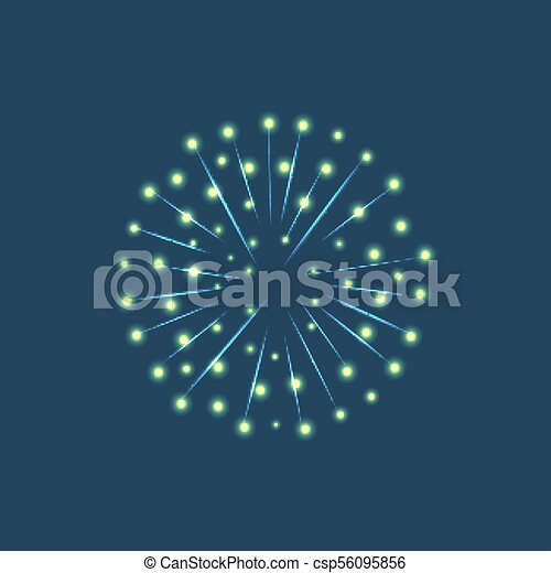 Fireworks Sparkles on Blue Sky Background Vector - csp56095856