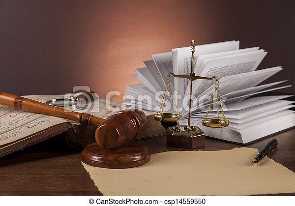 firma, af træ, lov, skrivebord - csp14559550