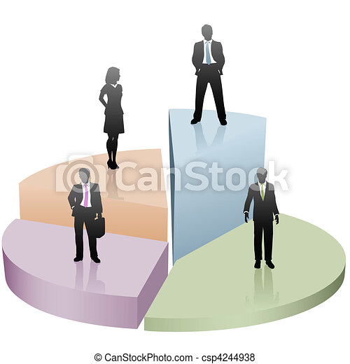 firma, held, folk, pie kort, stand, stykke - csp4244938
