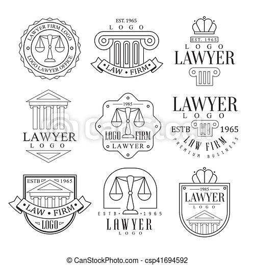El bufete de abogados y abogados logotipos con pilares iónicos clásicos, pedimentos y siluetas de equilibrio - csp41694592
