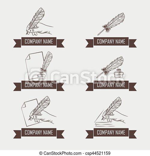 firma, set, hand, logotypes, veer, wet - csp44521159