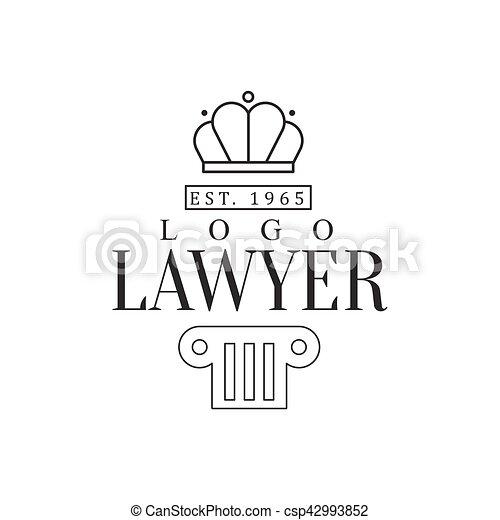 firme, silhouette, avocat, bureau, justice, pilier, couronne, symboles, noir, gabarit, logo, blanc, droit & loi - csp42993852