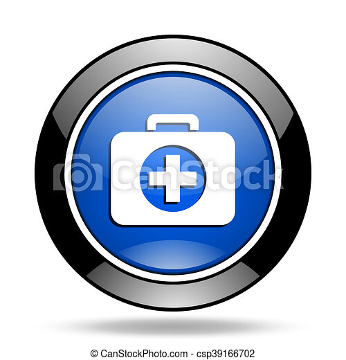 first aid blue glossy icon - csp39166702