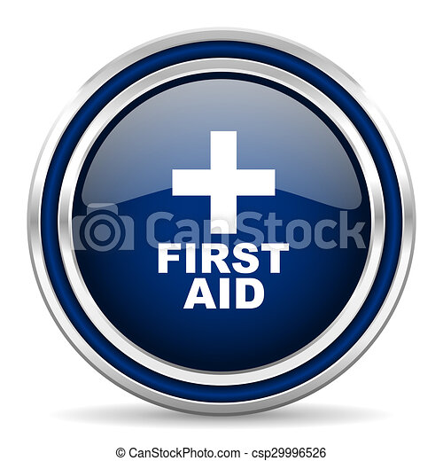 first aid blue glossy web icon - csp29996526