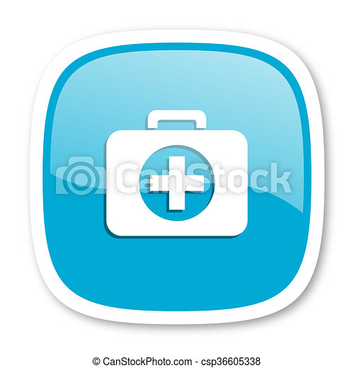 first aid blue glossy web icon - csp36605338