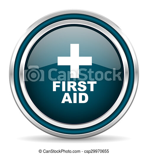 first aid blue glossy web icon - csp29970655