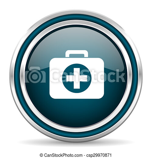 first aid blue glossy web icon - csp29970871