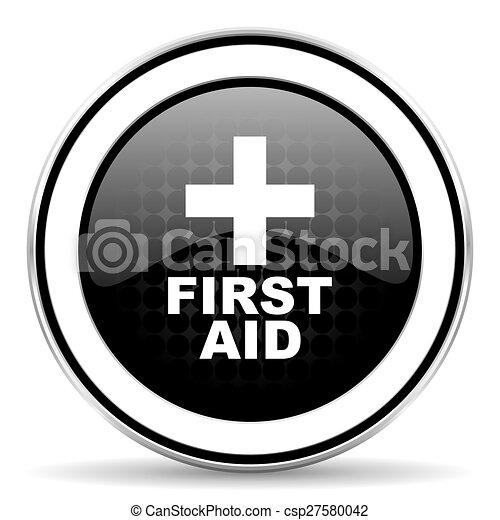 first aid icon, black chrome button - csp27580042