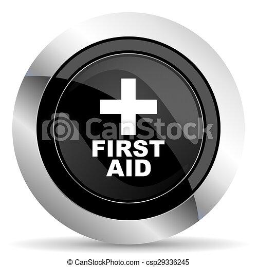 first aid icon, black chrome button - csp29336245