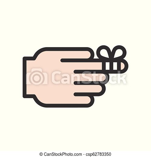 first aid icon, finger with bandage, filled outline - csp62783350