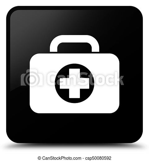 First aid kit bag icon black square button - csp50080592