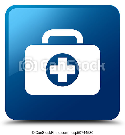 First aid kit bag icon blue square button - csp50744530