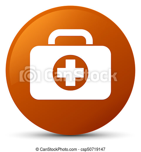 First aid kit bag icon brown round button - csp50719147