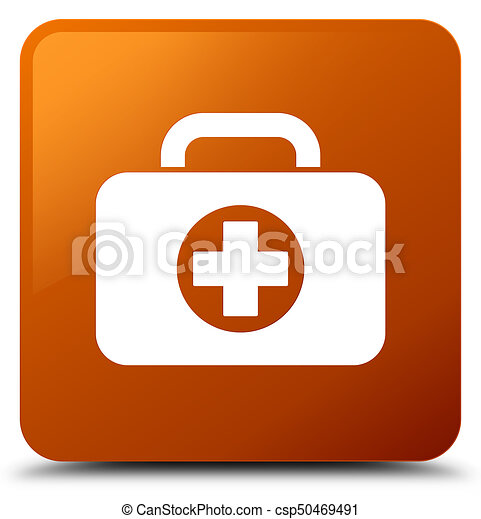First aid kit bag icon brown square button - csp50469491