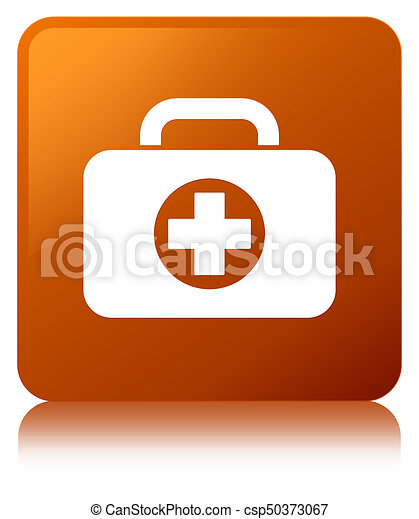 First aid kit bag icon brown square button - csp50373067