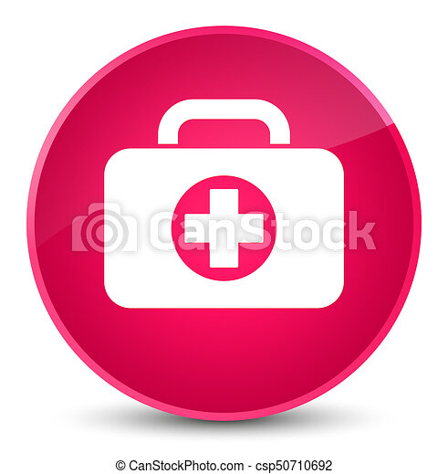 First aid kit bag icon elegant pink round button - csp50710692