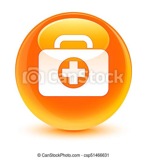 First aid kit bag icon glassy orange round button - csp51466631