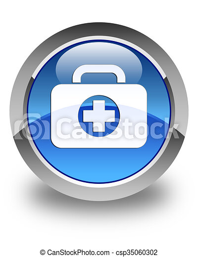 First aid kit bag icon glossy blue round button - csp35060302