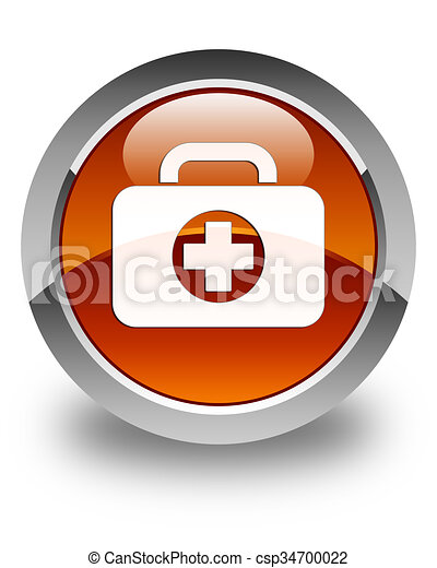 First aid kit bag icon glossy brown round button - csp34700022