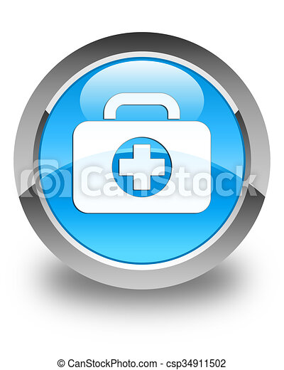 First aid kit bag icon glossy cyan blue round button - csp34911502