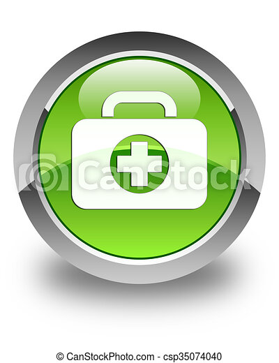 First aid kit bag icon glossy green round button - csp35074040