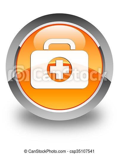 First aid kit bag icon glossy orange round button - csp35107541