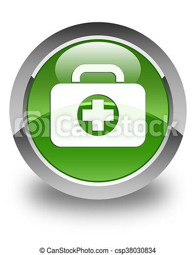 First aid kit bag icon glossy soft green round button - csp38030834