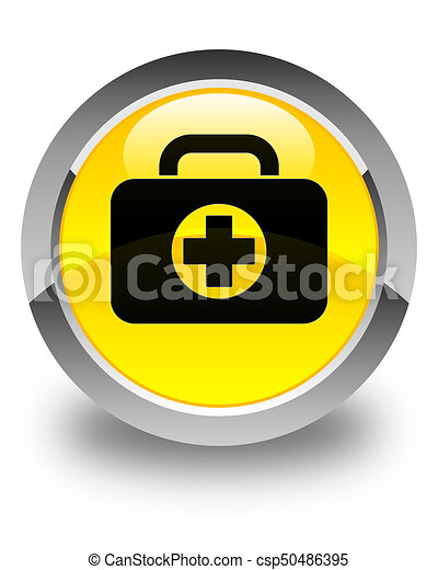 First aid kit bag icon glossy yellow round button - csp50486395