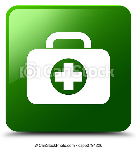 First aid kit bag icon green square button - csp50794228