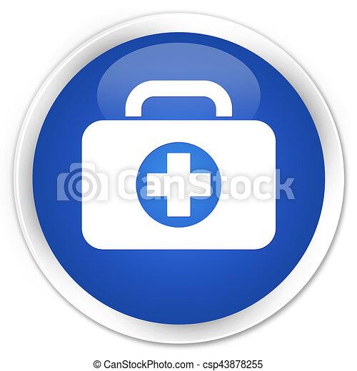 First aid kit bag icon premium blue round button - csp43878255