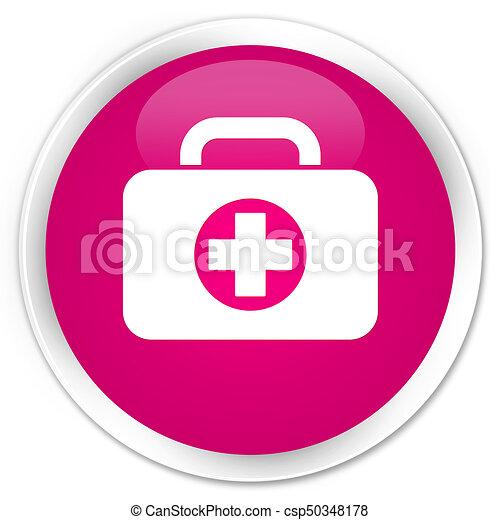 First aid kit bag icon premium pink round button - csp50348178