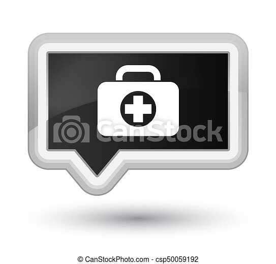 First aid kit bag icon prime black banner button - csp50059192