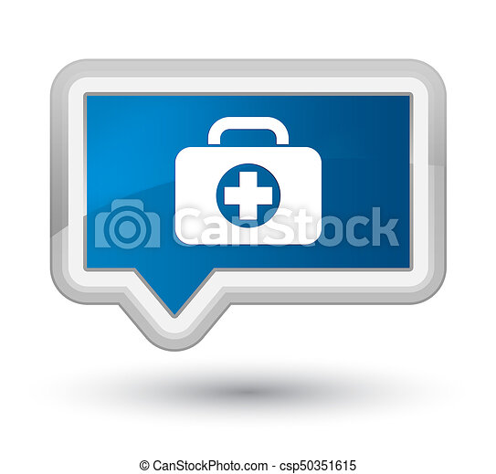 First aid kit bag icon prime blue banner button - csp50351615