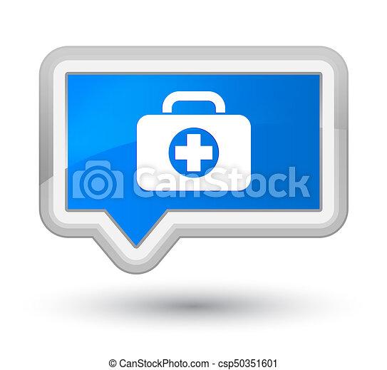 First aid kit bag icon prime cyan blue banner button - csp50351601