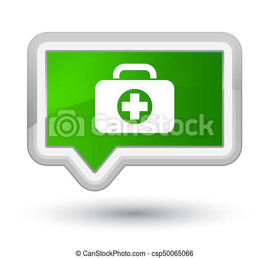 First aid kit bag icon prime green banner button - csp50065066