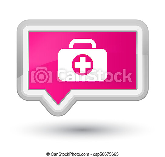First aid kit bag icon prime pink banner button - csp50675665