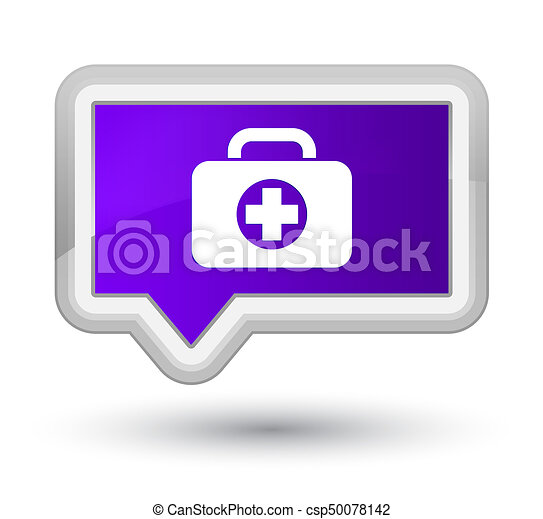 First aid kit bag icon prime purple banner button - csp50078142