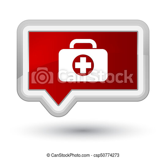 First aid kit bag icon prime red banner button - csp50774273