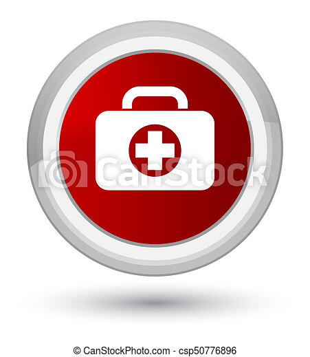 First aid kit bag icon prime red round button - csp50776896