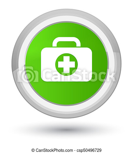First aid kit bag icon prime soft green round button - csp50496729