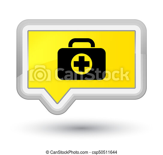 First aid kit bag icon prime yellow banner button - csp50511644