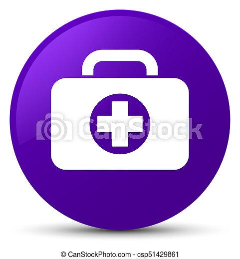 First aid kit bag icon purple round button - csp51429861