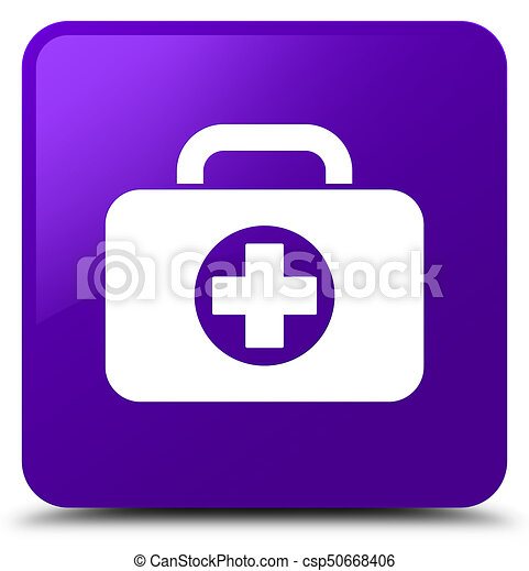 First aid kit bag icon purple square button - csp50668406