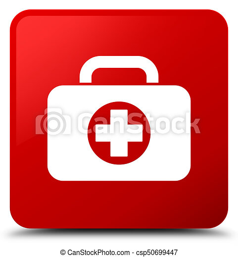 First aid kit bag icon red square button - csp50699447