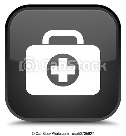 First aid kit bag icon special black square button - csp50705927