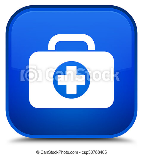 First aid kit bag icon special blue square button - csp50788405